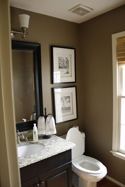 cool black white yellow accent bathroom   I like the black and brown. + an accent (light pink ...