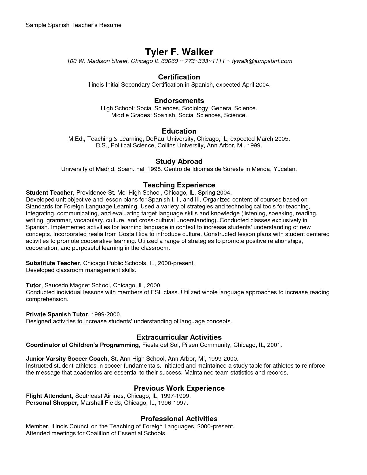 Resume Templates In Spanish Resumetemplates Teacherresume Teacher Resume Teacher Resume Template Resume Examples