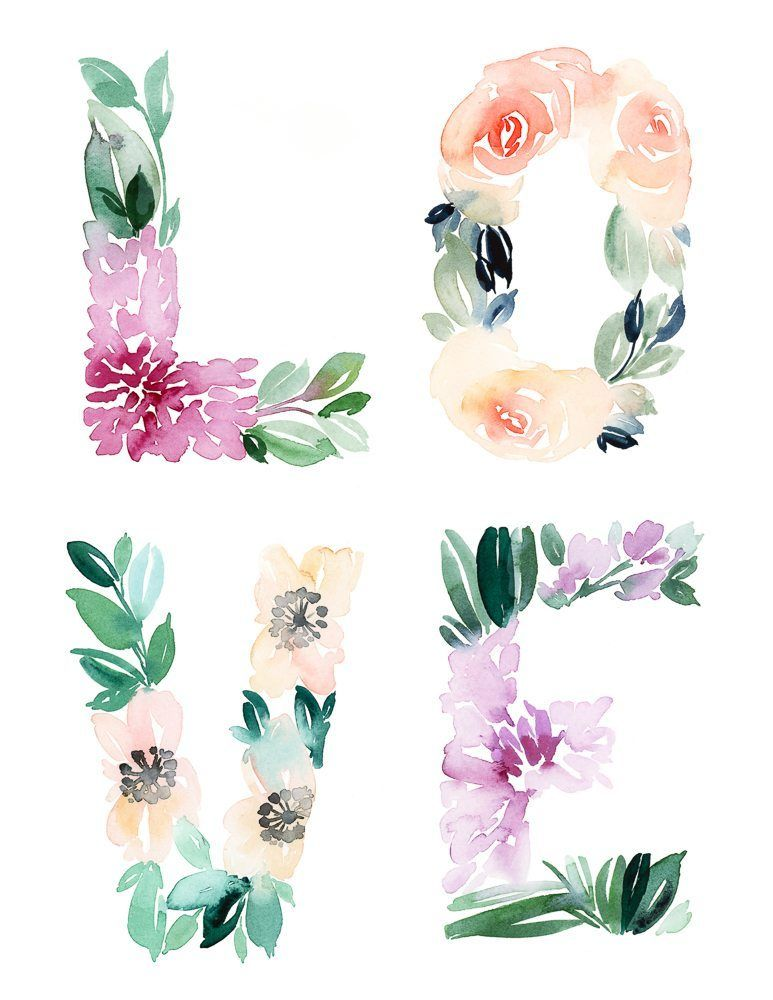 Love Wall Art And Printable Cards Floral Printables Floral Wall