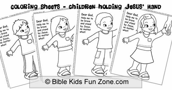 Bible coloring sheets of ethnic children holding the hand