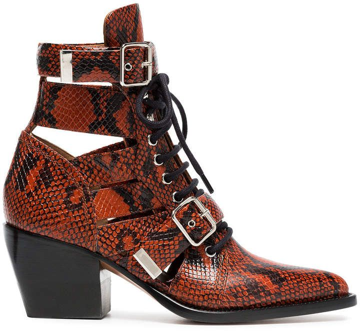 Brown Rylee 60 boot in python print calfskin Chlo��