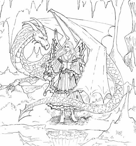 Dragon and dairy coloring fantasy pinterest dairy for Dragon and fairy coloring pages