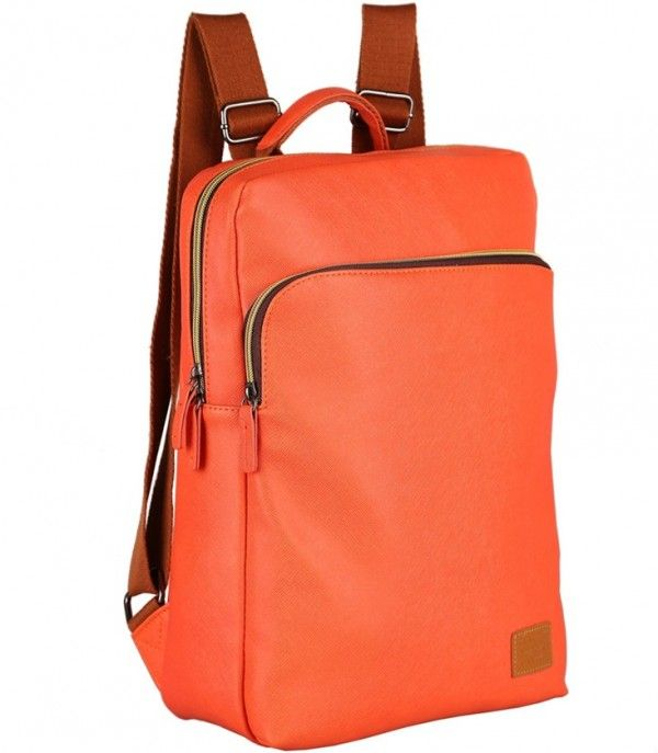 Girls orange PU backpack school bag women's multifunctional ...
