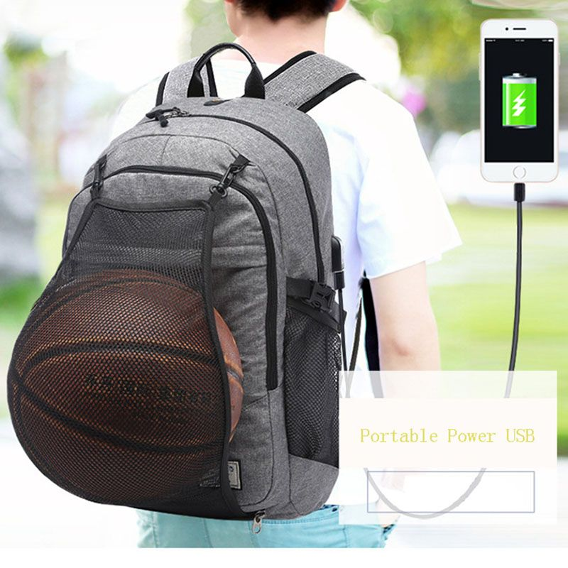 f59bc1039692 Multifunction Basketball Backpack Man School Bag For Teenager Canvas Ball  Pack Soccer Sports Bags Football Net USB Male Gym Bags