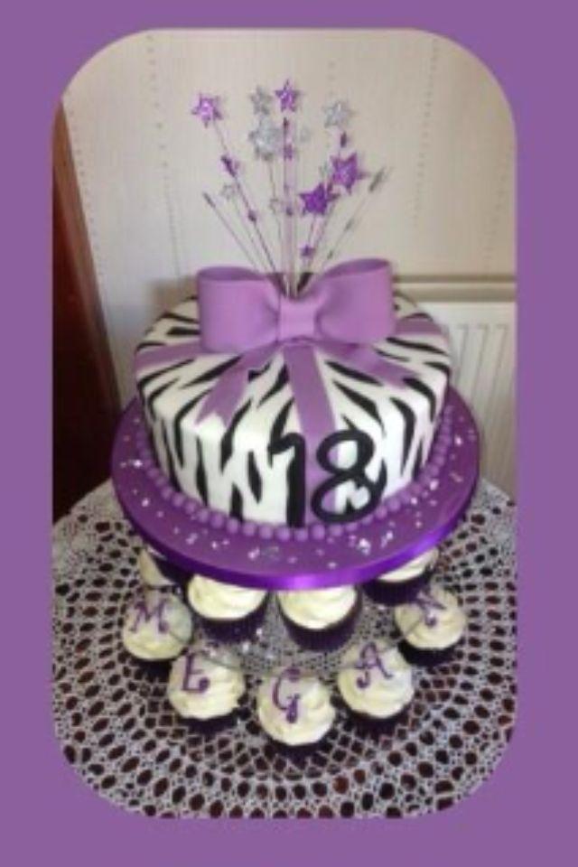 My 18th Birthday Cake Zebra Print Purple With Cupcakes And Diamantes