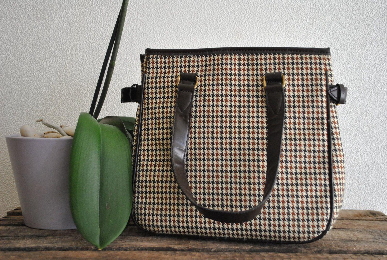 Vintage 70s Plaid Handbag Purse.