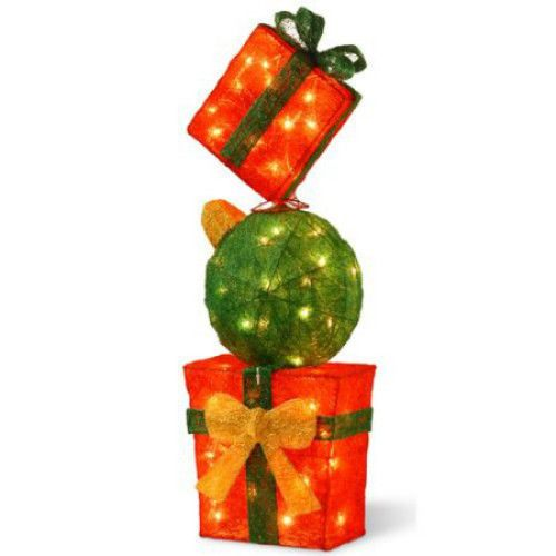 pre lit gift box tower christmas decoration free standing outdoor indoor figure theholidayaisle - Free Standing Christmas Decorations