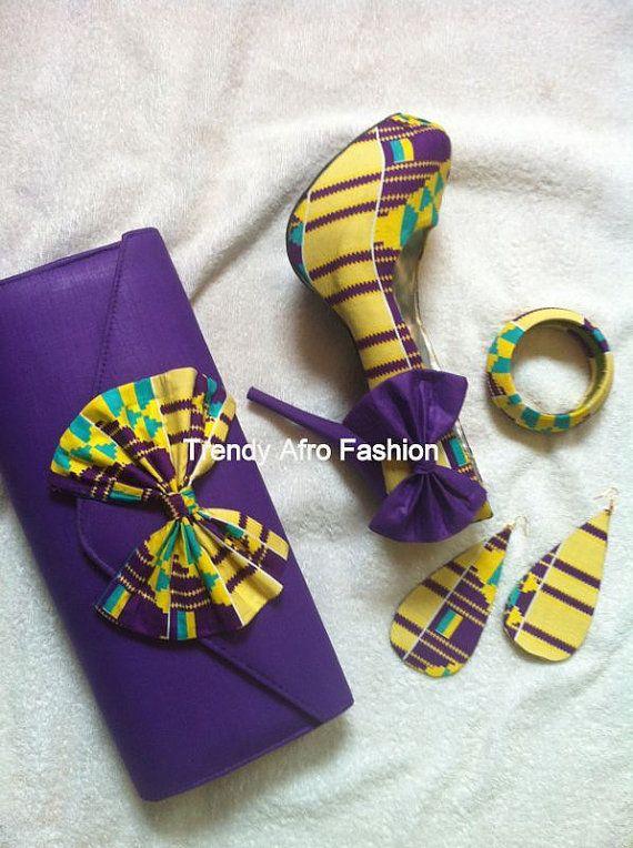 e11e2d7344dde Purple Kente Shoe set with bows ~Latest African Fashion, African ...