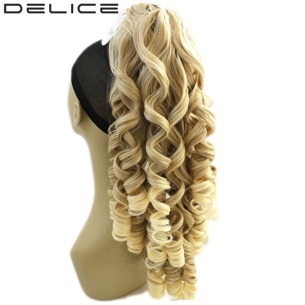 Delice 24 180g Clip In Long Blonde Curly Claw Ponytail High