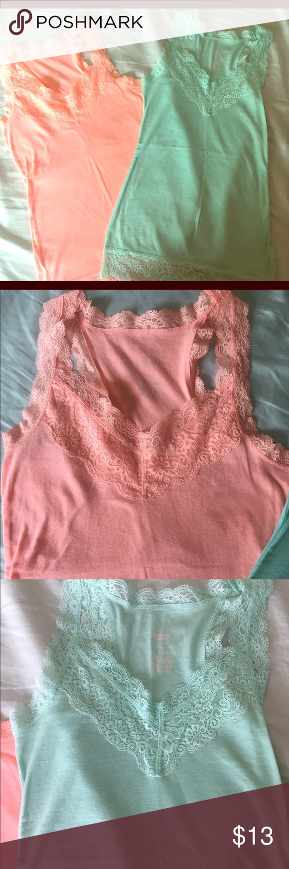 Two Racerback Lace Tank Tops These are two super cute racerback tank tops with lace around the edges. They are coral/peach and a seafoam green color. They have never been worn but do not have the tags. Mossimo Supply Co Tops Tank Tops