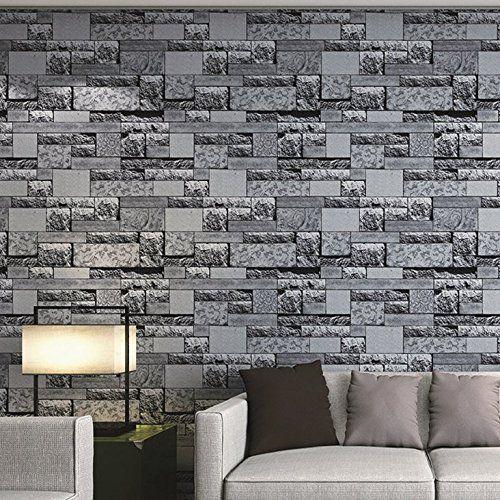 Muriva Natural Slate Grey Wallpaper 161502 Faux Brick Stone Wall Urban Living