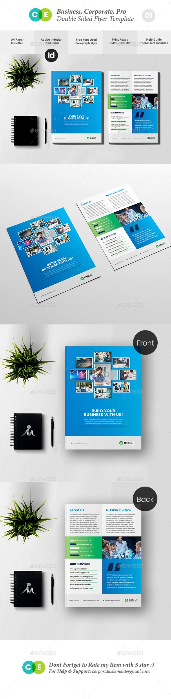 clean corporate pro double sided flyer v01 flyer template template and tri fold brochure