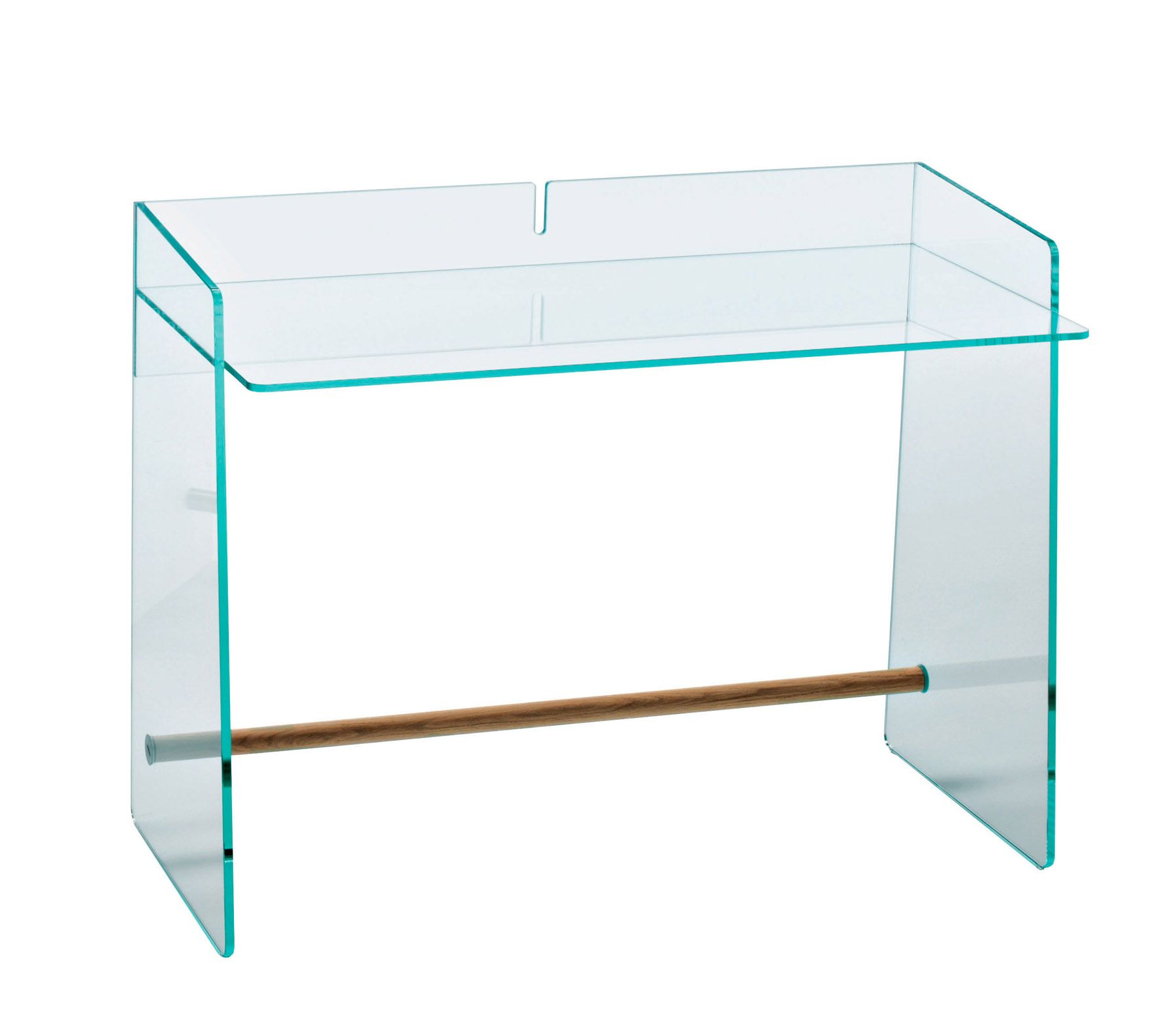 Jasper Morrison Writing desk in transparent extralight glass or in a special double-faced extralight acid-etched glass tempered and thermowelded. Available in two different sizes. The version in extralight acid-etched glass has the footrest bar in inox anodized aluminium, while the version in transparent extralight glass is available with the footrest bar in inox anodized aluminium …