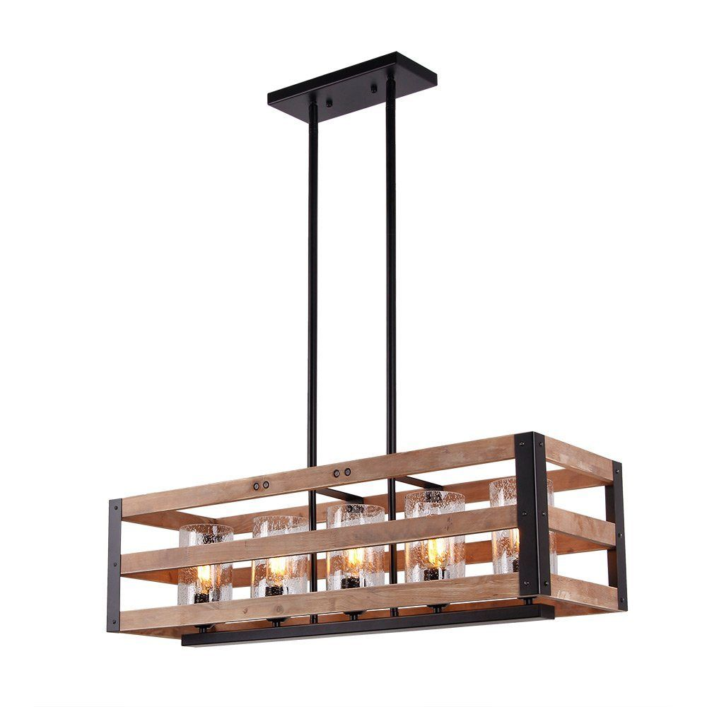 Eumyviv C0028 Wood And Metal Rectangle Chandeliers 5 Light Black Finishing Iron Lamp Glass Shade Retro Vintage Metal Pendant Lamps Lamp Wood Chandelier Rustic