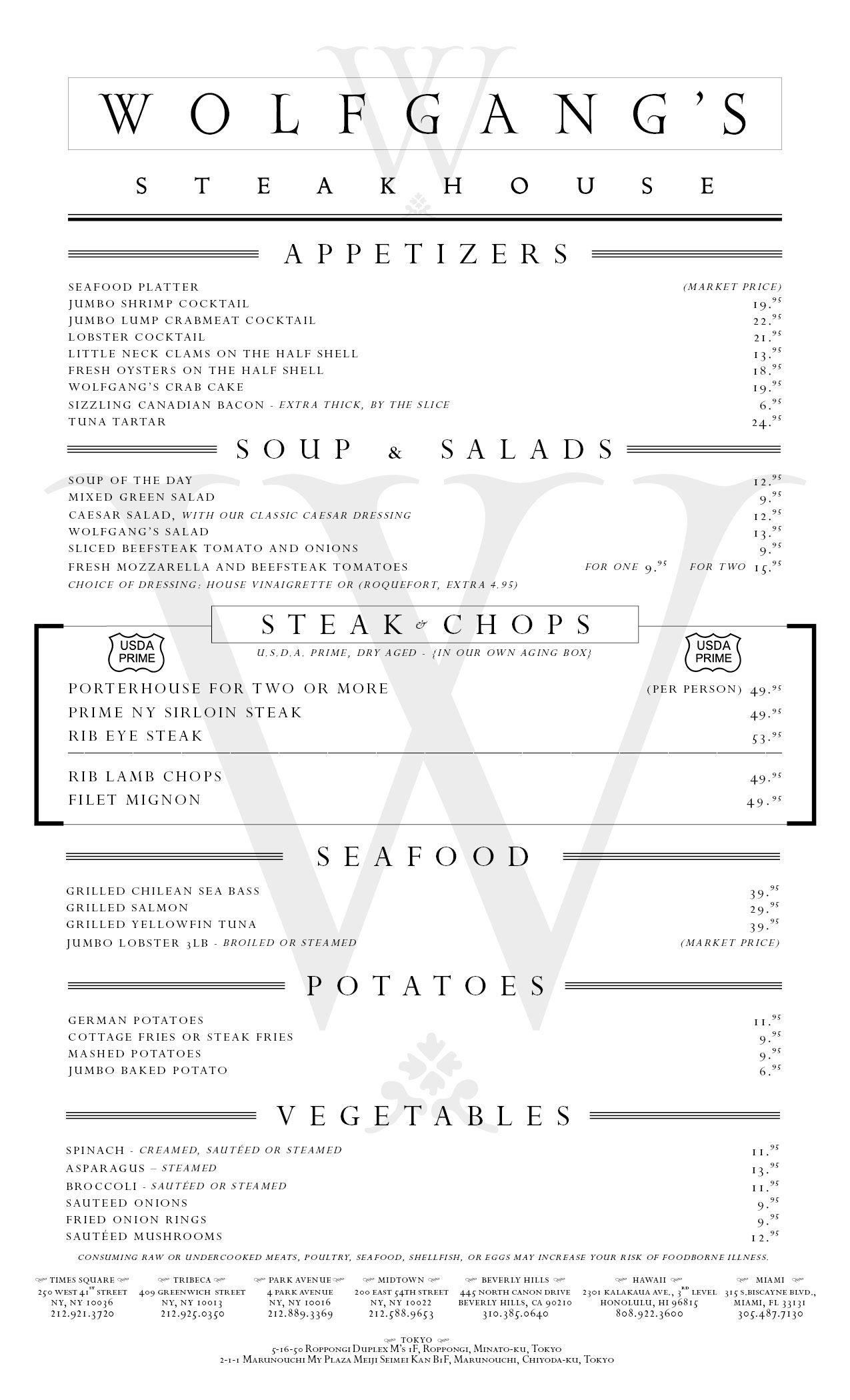 Wolfgangs Dinner Nyc 2 16 15 2 Jpg 1275 2100 Dinner Menu Steak Menu Appetizer Platters