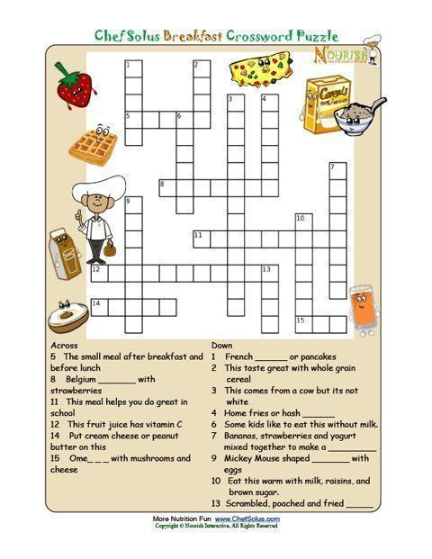Printable Crossword Puzzles For Kids From Nourish Interactive Click To Print This Fun Nutrition Education Food Puzzle Pyramid