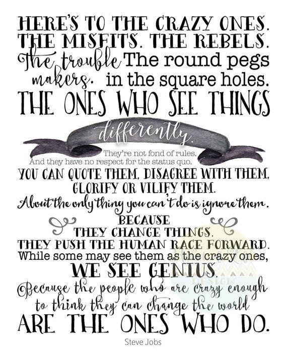 Printable art, Inspirational quote print, Steve Jobs quote
