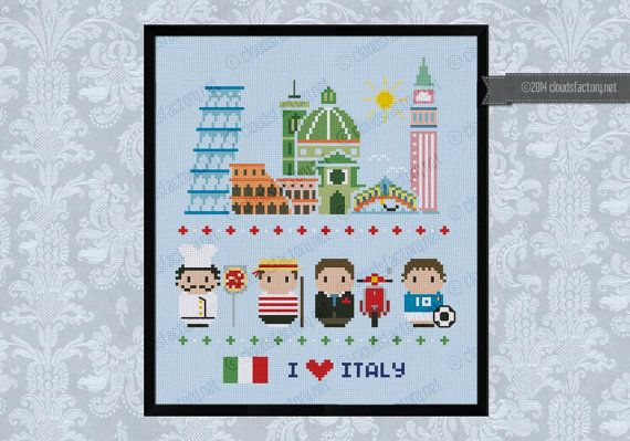 Italy icons Mini people around the world PDF by cloudsfactory