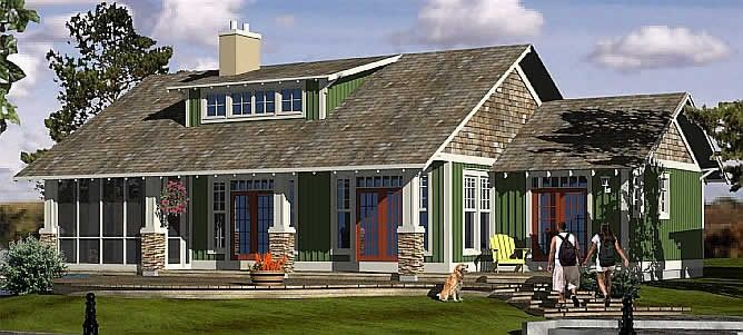 Bungalow Plan Featuring An Open Design With Varied Ceiling Heights To Define Living Spaces Designed