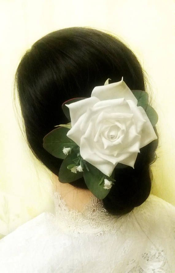 Bridal Flower Hair Comb Floral Wedding Headpiece White Rose Hair