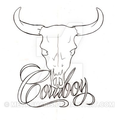 Black Outline Cow Skull Tattoo Stencil Tattoos Bull Skull