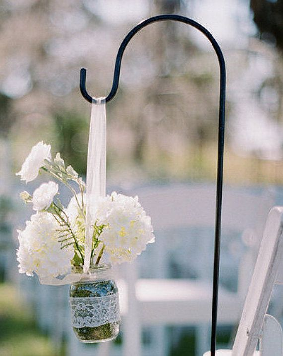 Wedding or Garden Shepherd Hooks (Set of 10) Perfect for Mason Jars ...