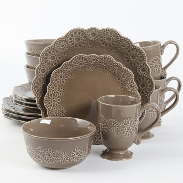 Gibson Elite Eyelet Lace 16-piece Brown Dinnerware Set : carynthum square dinnerware - pezcame.com