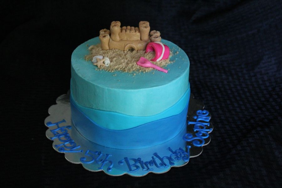 Sandcastle And Sea Shells With Bucket And Shovel In The Sand 8 Round 4 Layer Cake Covered In Buttercream With Marshmallow Fondant Waves A