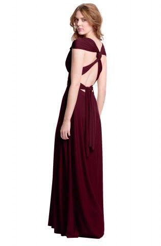 Sakura Burgundy Wine Maxi Convertible Dress