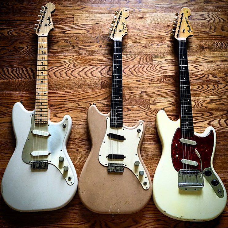 A gorgeous trio of a '56 Fender Duo-Sonic a '60 Fender Duo-Sonic and a '64 Fender Mustang sent in by @kcvintageguitars !! #fender #duosonic #1957 #1960 #1964 #mustang #vintageguitarposts by vintageguitarposts