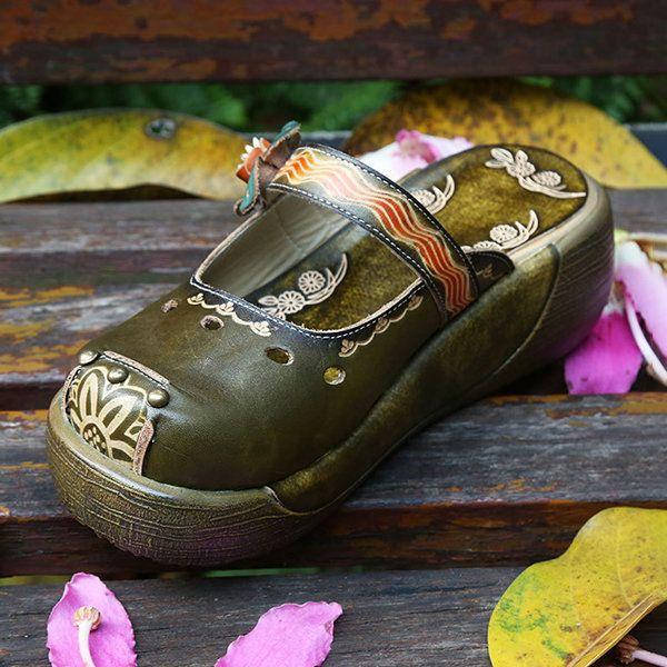 Socofy Cuir Papillon Coloré Fleur Évider Chaussures Plate-forme UL4fi