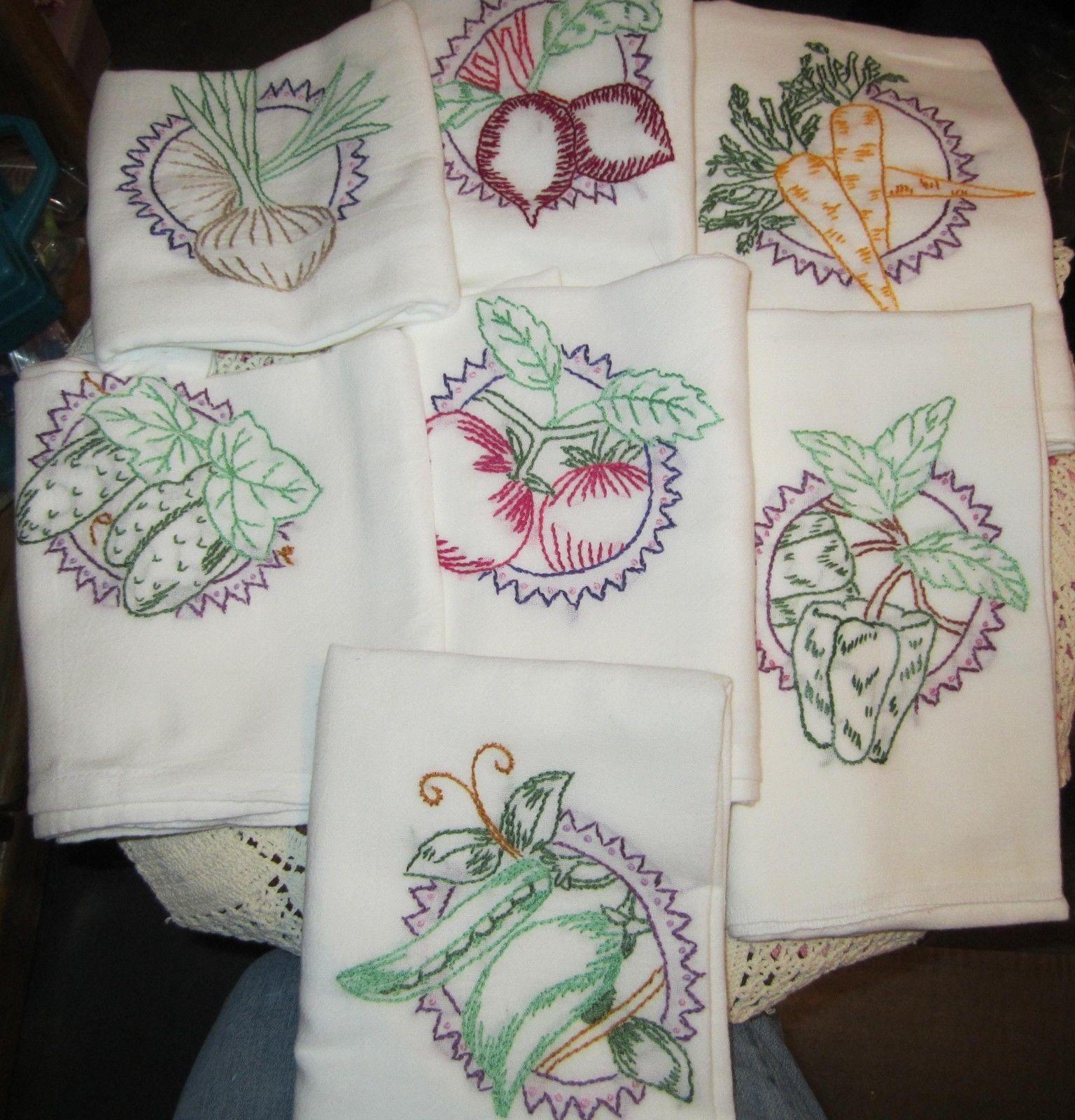Vintage Tea Towels Set of 7 Embroidered Vegetables 100 ...