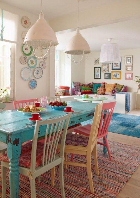 Sedie Colorate Fai Da Te.Tavolo Shabby Sedie Colorate Cerca Con Google Sweet Home