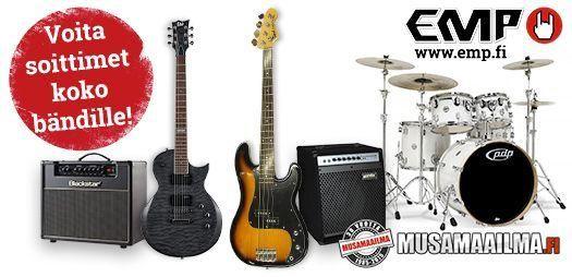 EMP.fi haluaa varmistaa, että saamme myös tulevina vuosina nauttia mahtavasta suomalaisesta musiikista ja niinpä järjestämme yhdessä Musamaailman kanssa tämän kilpailun, jonka palkintona arvotaan mahtava soitinsetti: http://www.emp.fi/com_2479_participate/?campaign=emp/fi/sm/pin/promotion/desk/07012015-voita-soitinsetti Pyydämme sinua jakamaan tiedon kilpailusta kaikille musiikista kiinnostuneille tuttavillesi. Kaikki ansaitsevat mahdollisuuden voittaa tämän palkinnon!