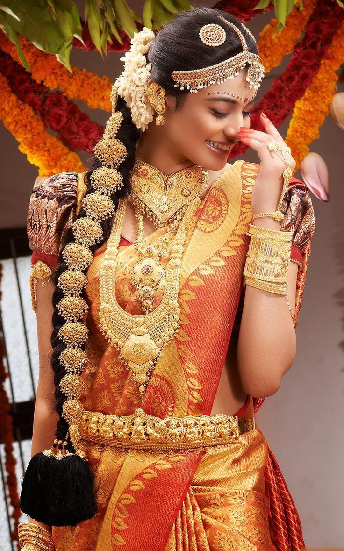 Traditional South Indian bride wearing bridal silk saree   south ...