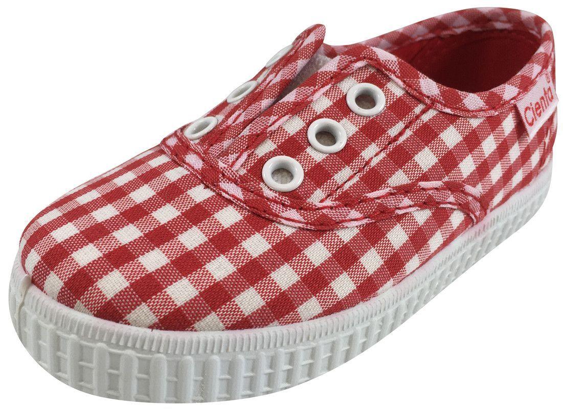 Cienta 55007 Girl's and Boy's Red Gingham Slip On Sneaker
