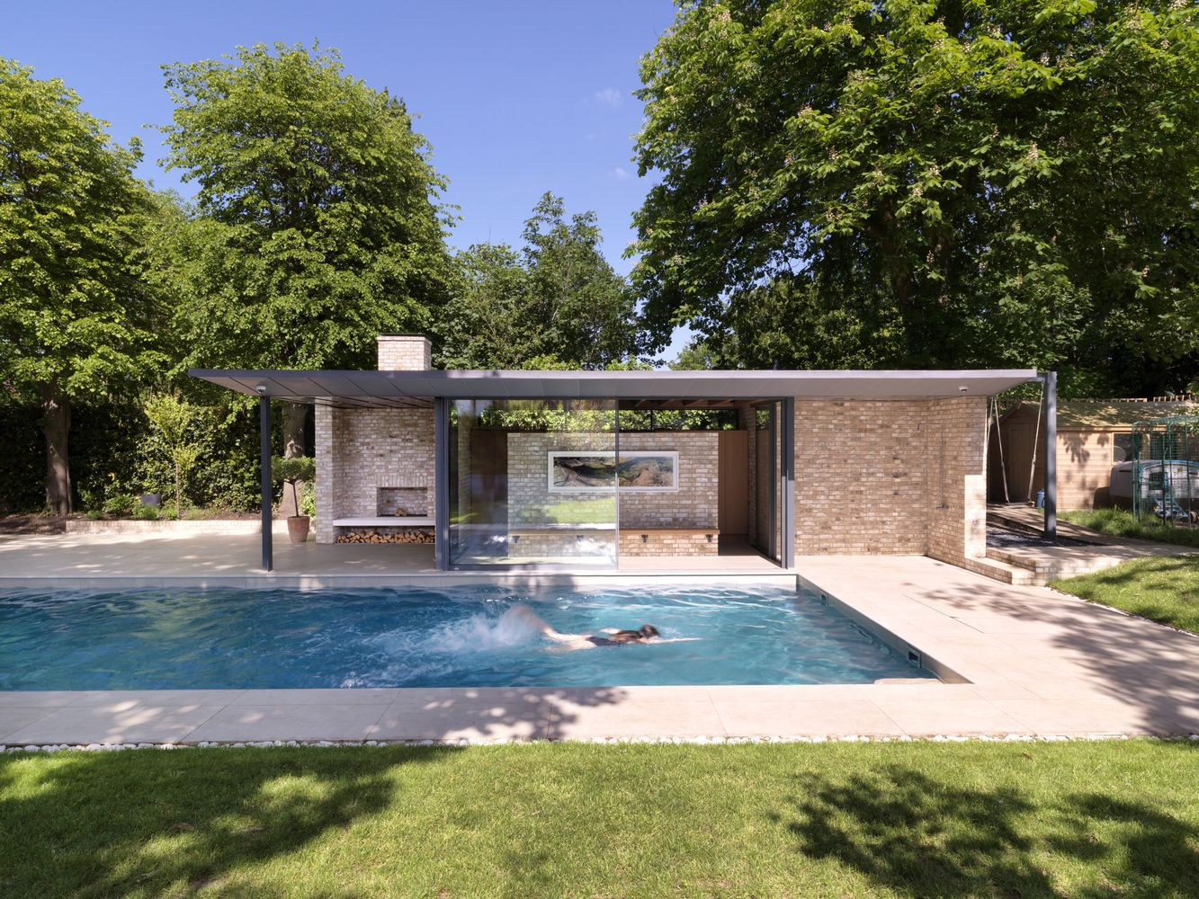 Gallery Of Pavilions Within A Garden Threefold Architects 1 Pool Houses Pool Patio Swimming Pool Designs