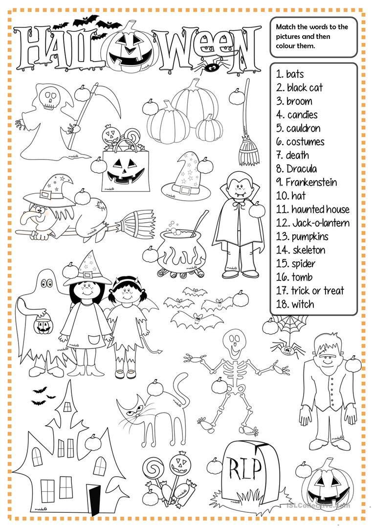 halloween - matching worksheet - free esl printable worksheets made