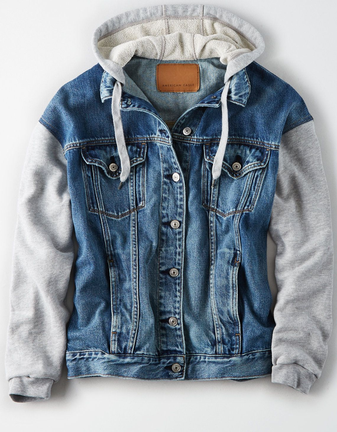 American Eagle Outfitters Men S Women S Clothing Shoes Accessories Denim Jacket With Hoodie Hoodie Jacket Outfit Hooded Denim Jacket [ 1462 x 1140 Pixel ]