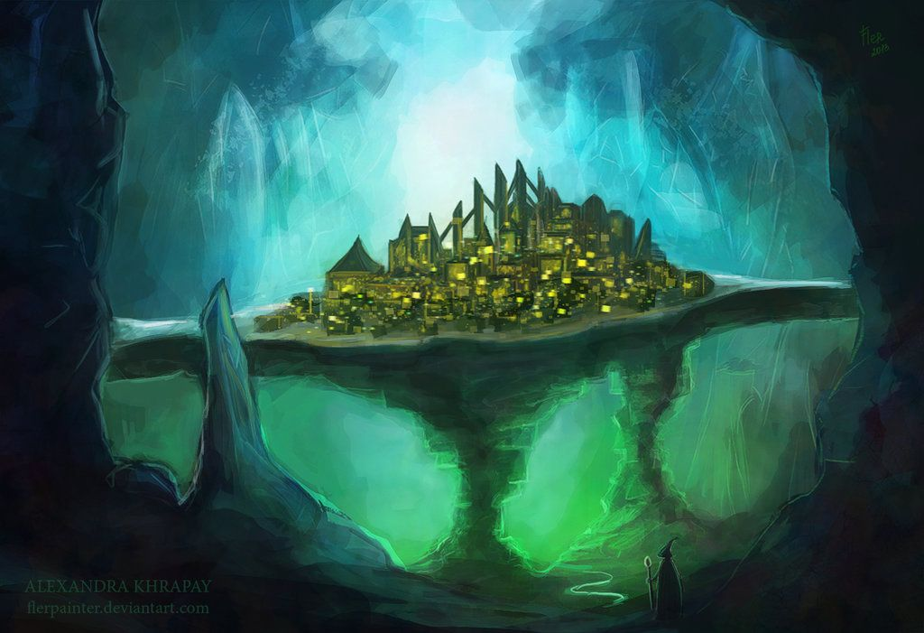 Fantasy landscape, Underground cities, Environment concept art