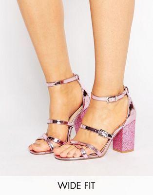 aa8f46b6601 ASOS HOP IT Wide Fit Glitter Heel Sandals
