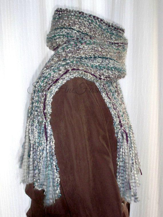 Hand Knit Scarf. Stone, Purple, Teal, Acrylic Yarn, Long, Tassels, Fringe https://www.etsy.com/listing/180132897/hand-knit-scarf-stone-purple-teal?ref=teams_post