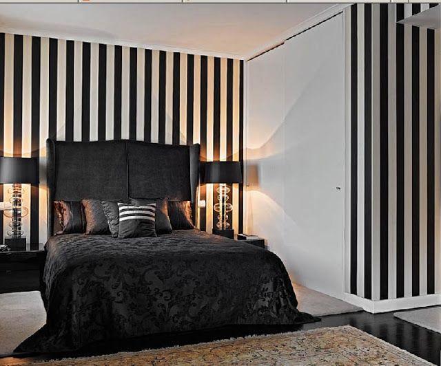 Miaamos Fashion Blog Black White Style White Wall Bedroom Striped Walls Bedroom White Interior Design Bedroom