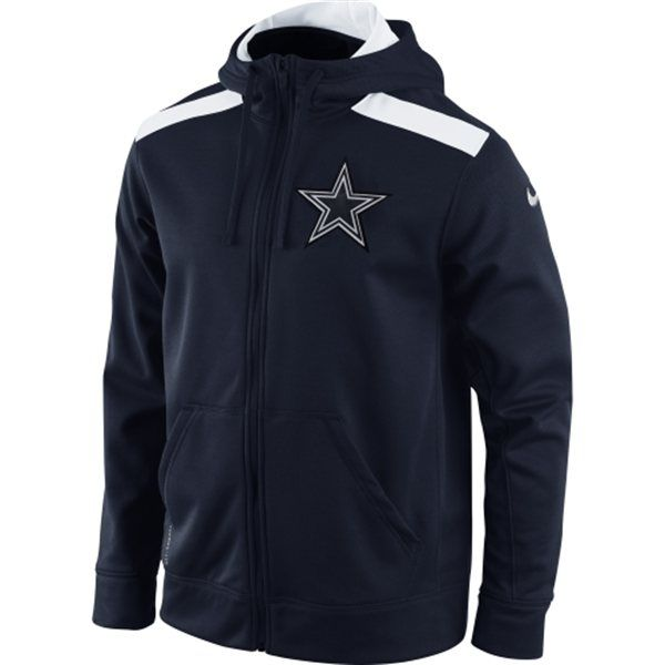 Men s Dallas Cowboys Navy Blue Shield Nailhead Full Zip Performance Hoodie 23f016c9d