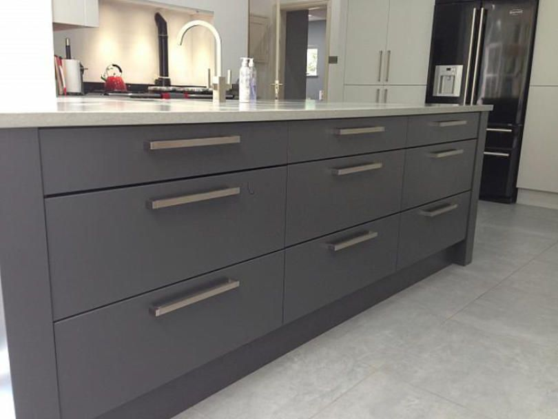 Real Kitchen Handles Concept Kitchens Contemporary Manor Houses Cabinet Hardware Larder Dove Grey Modern Bar