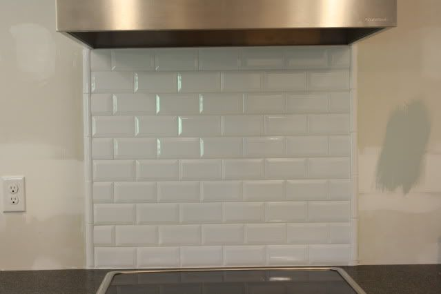 beveled subway tile backsplash
