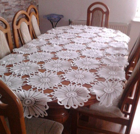 Rond blanc au crochet nappe table d coration par katescrochetwork id es pour la maison - Decoration au crochet ...
