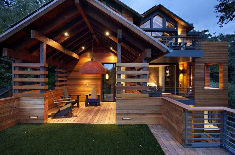 Modern Simple Wooden House Railing Interesting Windows Chairs Wood