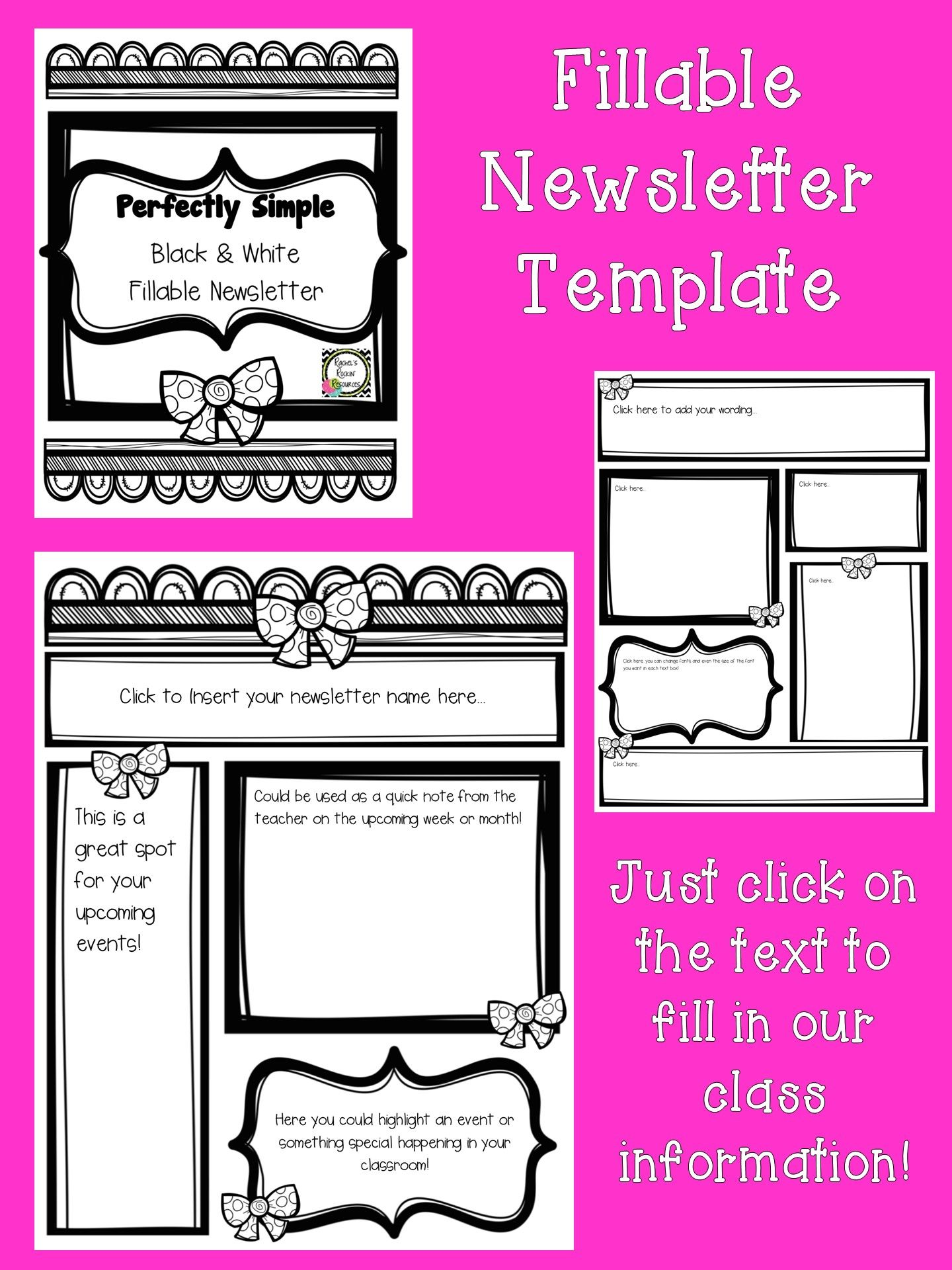 Newsletter Template Fillable Perfectly Simple Pre K 8 Hot