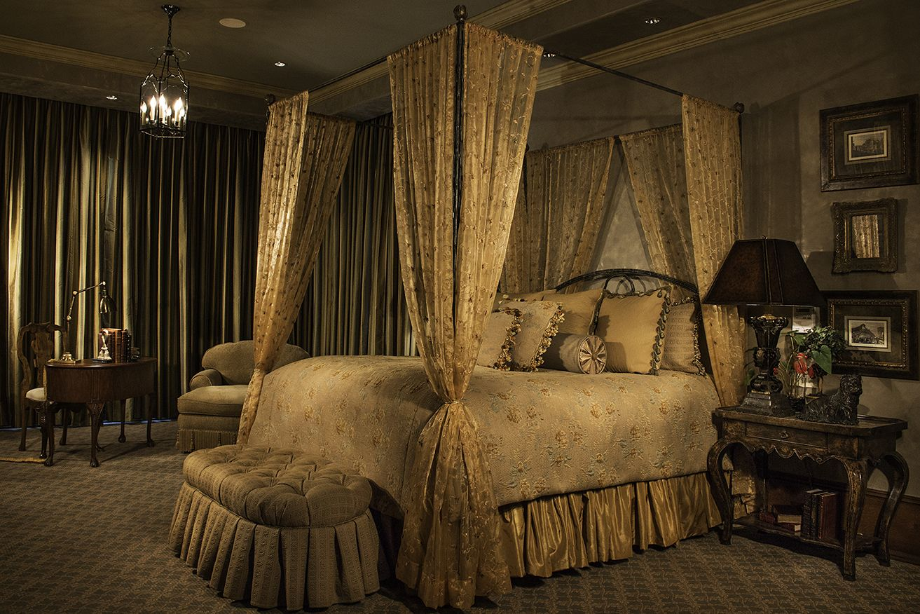 This guest suite invites you in with it's warm color palette, luxurious draperies and soft details.